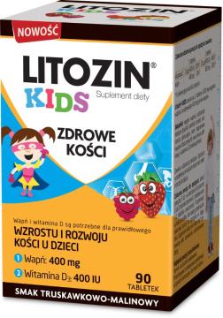 Litozin Kids 90 tabletek do rozgryzania o smaku truskawkowo-malinowym