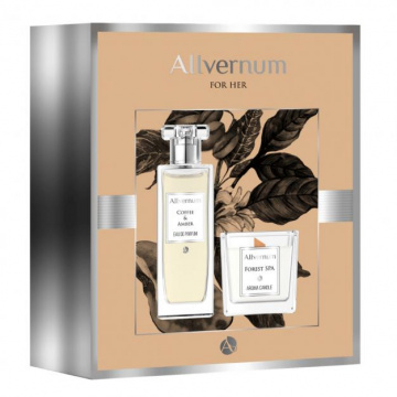 Allvernum Zestaw prezentowy  coffee & amber - woda perfumowana 50 ml i świeca 30h