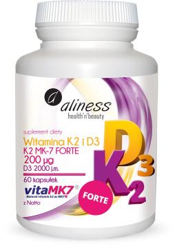 Aliness Witamina K2 FORTE MK-7 200 µg z Natto + D3, 60 kapsułek