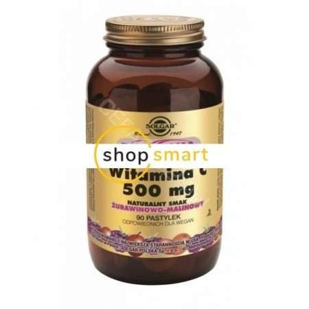 Solgar Witamina C 500 mg x 90 pastylek do ssania o  smaku żurawinowo-malinowym